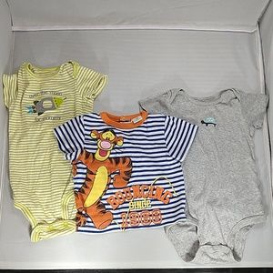 Mixed brands 12m onesie and shirt bundle